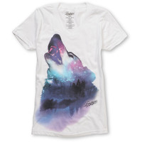 Empyre Girl Wolfy White V-Neck Tee Shirt