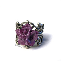 Star Flower Ring. Purple Shimmer. Pearl Finish. Cocktail Ring. Adjustable. Posey Ring