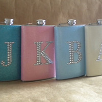 Holiday Gifts 4 Sparkly 8 ounce Flasks ALL with Rhinestone Initials KR2D 5753