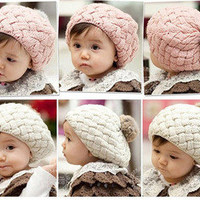 fashion style Cute Children Baby Kids Winter Warm Knit Crochet Beanie Round Hat