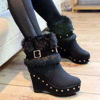 Studded Wedge Style Boots - Black