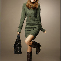 Beauty and Warm-Keeping V-Neck Long Sleeves Knitted Dress For Women China Wholesale - Everbuying.com