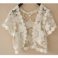 Elegance Knit Flower Short Sleeve Waistcoat China Wholesale - Everbuying.com
