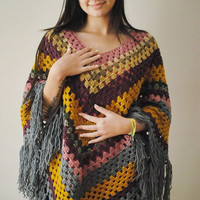 Crochet Pancho Afghan Multicolor Women Teen Girls