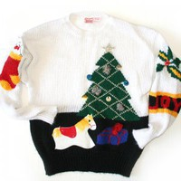 Vintage 80s Totally Horrendous Ugly Christmas Sweater Women's Size Medium/Large (M/L)