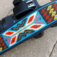 Funky Camera Straps for Canon Nikon Olympus style dslr&#x27;s--&quot;Spirit of the West&quot; in faux tapestry