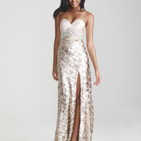 Light Gold Sequin & Satin Sweetheart Prom Dress - Unique Vintage - Cocktail, Pinup, Holiday & Prom Dresses.