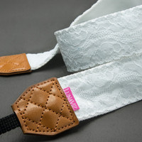Camera Strap - Floral Emboss Lace for DSLR and Mirrorless (White)