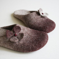 Black Cherry Blossom  Orthopedic wool felted slippers by Onstail