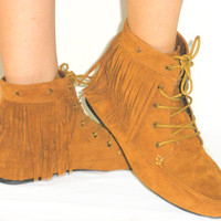 Cherokee Indian Moccasin Fringe Tassel *Suede Ankle Bootie Flat Boots TAN BROWN
