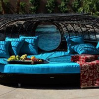 Handcrafted Outdoor Wicker Daybed // Lagoon Lounge // Color: Sapphire