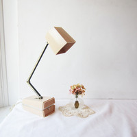 Vintage Pink Beige Ever Ready Portable Foldable Desk Lamp Light