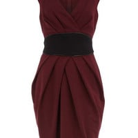 Maroon obi style ponte dress - View All New In - What's New - Dorothy Perkins