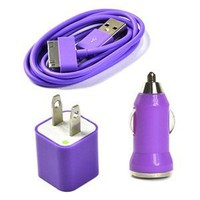 Amazon.com: Case Star Purple USB Wall Charger, USB Mini Car Charger, 3-Feet USB Charge and Sync Data Cable for iPod and iPhone: Cell Phones &amp; Accessories