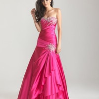 Fuchsia Beaded Ruched Satin Strapless Drop Waist Prom Gown - Unique Vintage - Cocktail, Pinup, Holiday &amp; Prom Dresses.