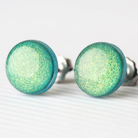 Peacock Green Shimmer Post Earrings