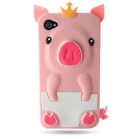 BABY PINK CUTE PIG SILICONE RUBBER SKIN COVER CASE Apple iPhone 4 4s s 4G 4Gs