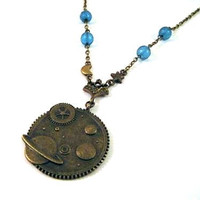 Planet necklace with blue beads and star, moon charm connectors - Milky way, galaxy, celestial, planet earth necklace jewelry