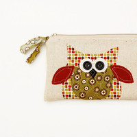 SALE owl zipper pouch, woodland, rustic brown olive green honey mustard oxblood, squares personalized purse, READY to SHIP