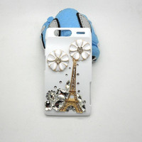 Handmade hard case for Motorola Droid Razr XT917: Bling Eiffel tower with crystals (custom are welcome)
