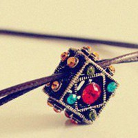 Vintage Jewelled Pandora Square Shaped Leather Pendant Necklace at Online Jewelry Store Gofavor