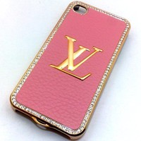 Amazon.com: Designer Iphone LV 4/4s Hard Bling Leather Case with Shell Case (Rose Pink): Cell Phones & Accessories