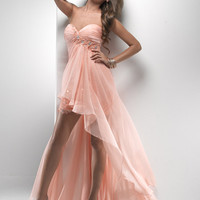 Soft Mango Lace & Chiffon Strapless Hi-Lo Prom Dress - Unique Vintage - Cocktail, Pinup, Holiday & Prom Dresses.
