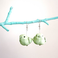 Birdie Bird-Bird earrings - Pastel Mint green - Vegan