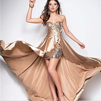Pale Gold Sequin & Satin Strapless Empire Waist Prom Dress - Unique Vintage - Cocktail, Pinup, Holiday & Prom Dresses.