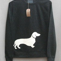 Leather Daschund Jumper Women's Dark Grey Heather Lightweight Crew Neck Sweatshirt