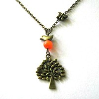 Tree And Bird Necklace With Orange .. on Luulla