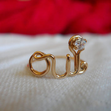 $45.00 BLACK Friday / Cyber Monday Sale OUI Ring 14K Gold by StreetBauble