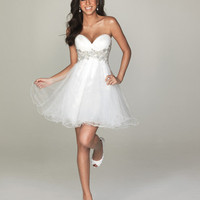 SALE! Evenings By Allure - White Embroidered Tulle Sweetheart Strapless Prom Dress - Unique Vintage - Cocktail, Pinup, Holiday &amp; Prom Dresses.