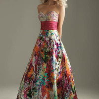 2012 Homecoming Dresses! Night Moves Colorful Beaded Strapless Gown - Size 0-18 - Unique Vintage - Cocktail, Pinup, Holiday & Prom Dresses.