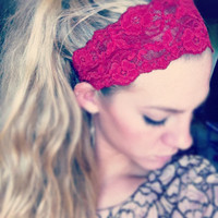 Dark Red - Thick Lace Headband