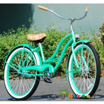 "J Bikes Chloe, Mint Green - Women's 26"" 1-speed Beach Cruiser Bicycle"
