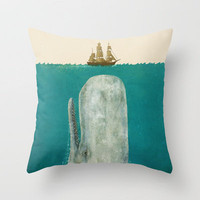 Moby  Throw Pillow by Terry Fan | Society6