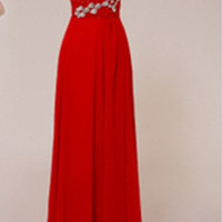 Beach Sweetheart Sleeveless Floor-length Chiffon Beading Long Bridesmaid/Evening/Party/Homecoming/Prom/Formal Dresses 2013 New Arrival