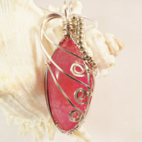 Pink Dragon Vein Agate Pendant, Wire Wrapped Jewelry, Handmade