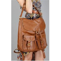 2027 Leatherette 2 Front Pocket Flap Backpack and Womens Handbags - Make Me Chic