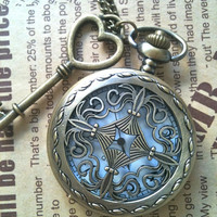 Steampunk Pocket Watch necklace Cross with key by Victorianstudio