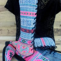 Anja Boot in Blue &amp; Pink Hmong