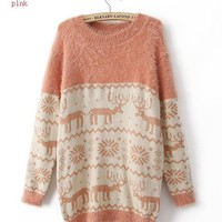 snow flake deer  pinkish sweater FS28 from Fashion Accessories Store