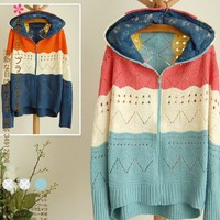 Colored stripes loose bat sleeve zipper hooded sweater