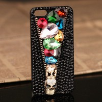 3D jewelled skull iPhone 5 4S 4G 3GS Black Rhinestones Crystals Cover Anniversary gift for wife Rhinestones iPhone 5 4S 3GS Cases, Couple Necklaces / Wedding Rings & Uncommon Gift Ideas - Worldwide Shipping