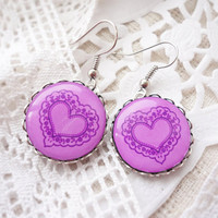 Pink heart earrings - Valentine's jewelry