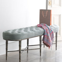 Antiqued-Teal Tufted Bench - Horchow