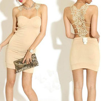 Eye-catching Skinny Ladies Dresses Apricot Hot Sale  : Wholesaleclothing4u.com