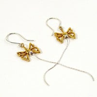 Butterfly Earrings, Silver & Gold, Long Dangles