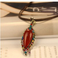 Boho Leaf Rhinestone Long Chain Pendant Necklace at Online Cheap Vintage Jewelry Store Gofavor